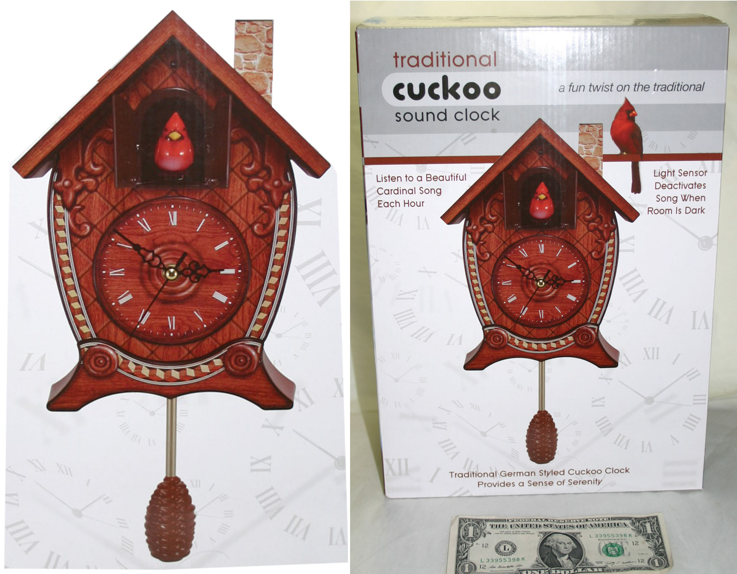Traditional cuckoo sound clock cardinal bird song each hour wall mantel cabin ebay - Cuckoo bird clock sound ...