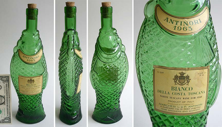 1965 fish bottle antinori wine italy decor old green ebay for Fish wine bottle
